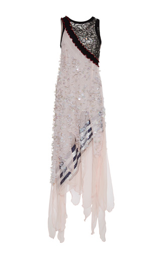 Medium rodarte multi macrame lace and pink chiffon dress with hand embroidered net overlay