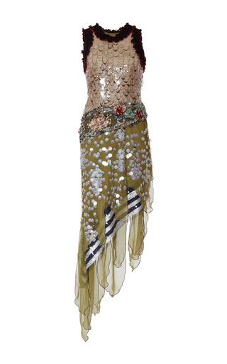 Medium rodarte multi embroidered net and chiffon dress with swarovski crystals