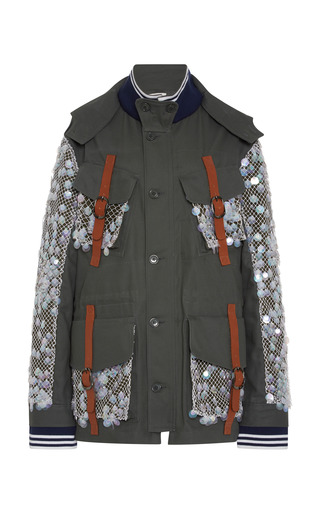 Medium rodarte multi grey canvas four pocket jacket with hand embroidered iridescent burnt edged paillettes