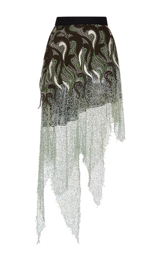 Medium rodarte multi embroidered lace skirt with hand crochet sea foam metal net and swarovski crystals