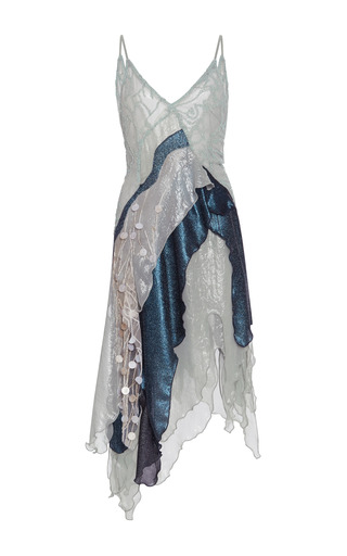 Medium rodarte multi sea foam beaded tulle and aqua lame dress