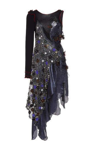 Medium rodarte multi navy and black lame one sleeve dress with hand embroidered lace and swarovski crystals