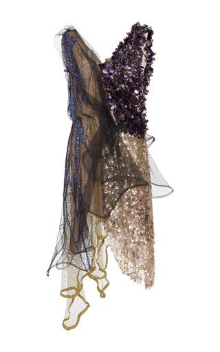 Medium rodarte multi peach lame beaded tulle and layered net dress