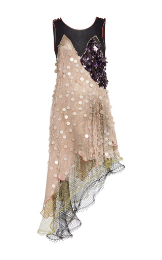 Medium rodarte multi peach lame beaded tulle and layered net sleeveless dress