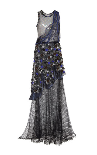 Medium rodarte multi embroidered pearl and beaded net gown with iridescent sequins and swarovski crystals