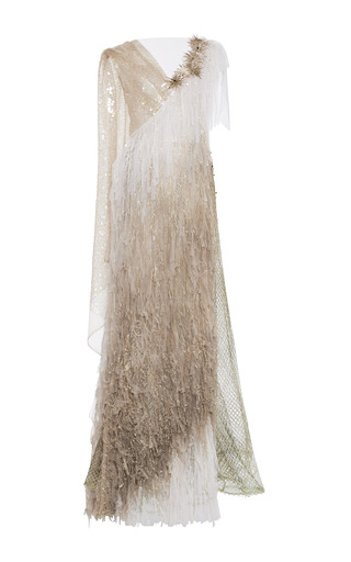 Medium rodarte multi hand painted net gown with embroidered silk tulle fringe and swarovski crystals