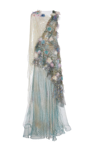 Medium rodarte multi hand painted net gown with hand embroidered feather lace iridescent sequins and swarovski crystals
