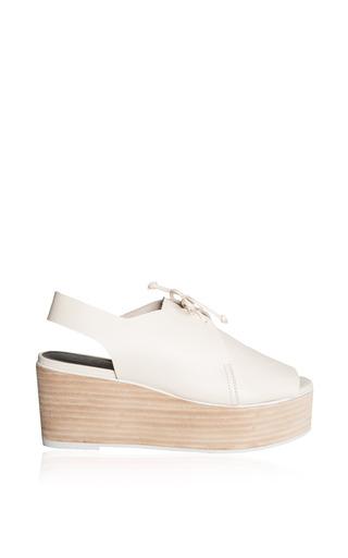 Medium tibi ivory malone lace up slingback platform heels in ivory nappa leather