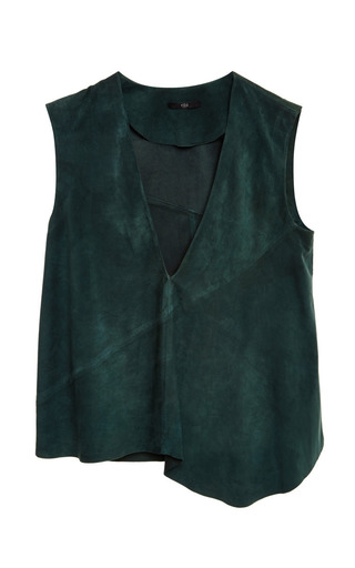 Medium tibi green feather weight suede v neck sleeveless top in kanji green