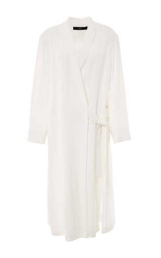 Medium tibi white linen viscose kimono maxi coat in white