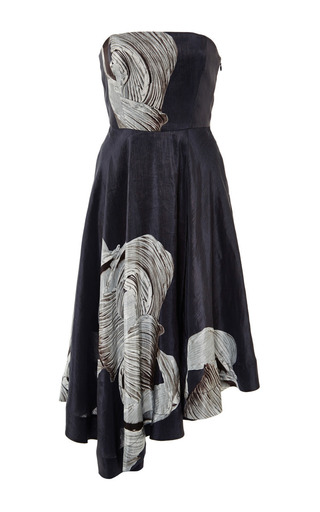 Medium tibi multi midori on silk linen strapless dress in navy multi