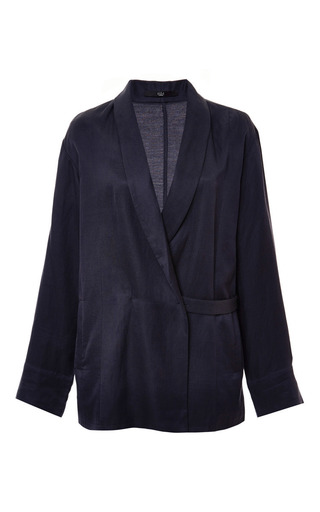 Medium tibi navy cupro piquet blazer with slit detail in navy
