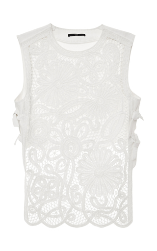 Medium tibi white mateo crochet apron top with pulp combo in ivory 2