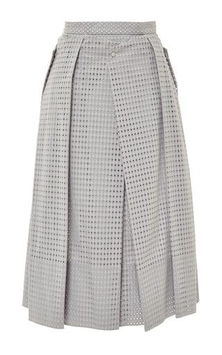 Medium tibi dark grey riko eyelet flat origami skirt in kumo grey