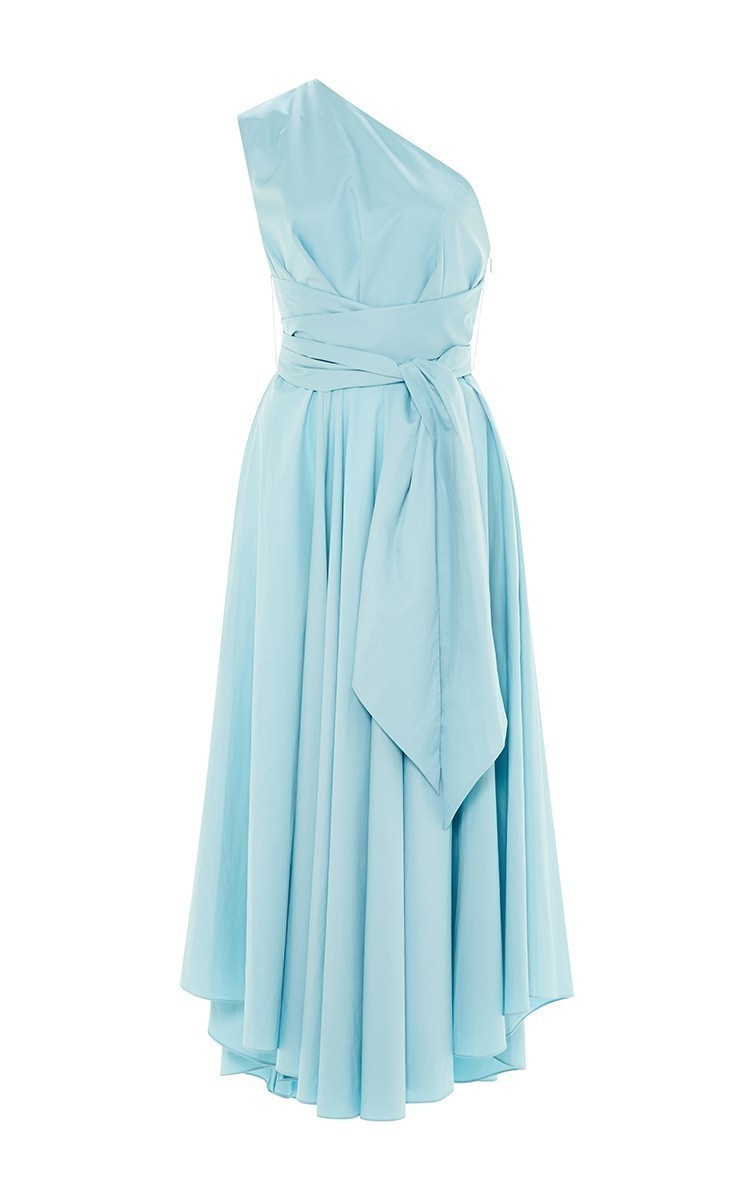 Satin Poplin One Shoulder Wrap Dress by Tibi | Moda Operandi