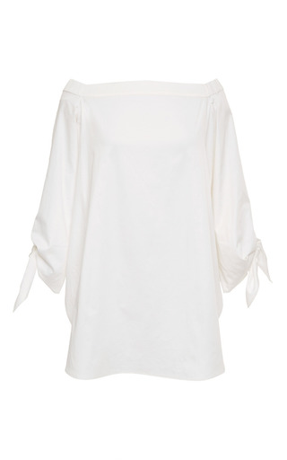 Medium tibi white satin poplin off shoulder tunic in white