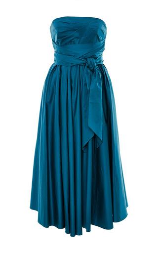 Medium tibi green satin poplin strapless wrap dress in kanji green