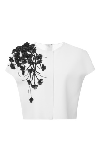 Medium carolina herrera white mirror petal and stem techno jersey blouse
