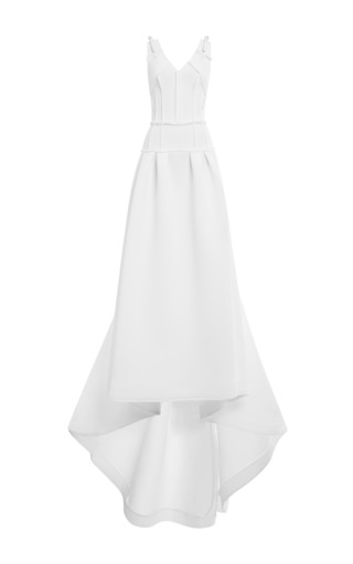 Medium carolina herrera white techno pique belt ball gown in white