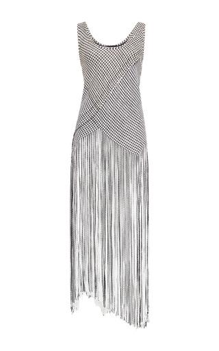 Medium proenza schouler multi black and off white fringe basket weave racerback long dress