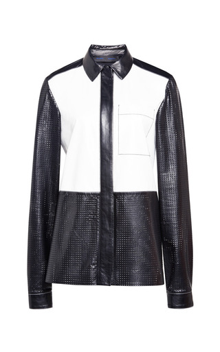 Medium proenza schouler multi white and black paper leather top with front zip