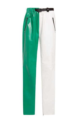 Medium proenza schouler multi white and kelly green paper leather straight pant