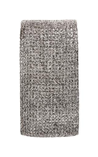 Medium proenza schouler black white and black open crochet knit pencil skirt