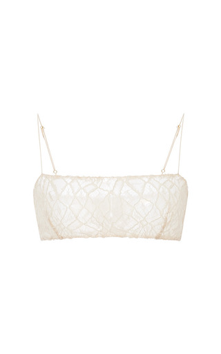 Medium adam lippes brown moroccan lace bralette in butter