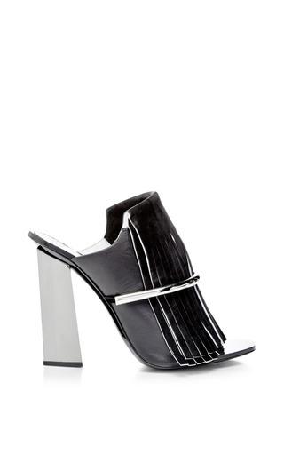 Medium proenza schouler black black fringe mule with nickle heel