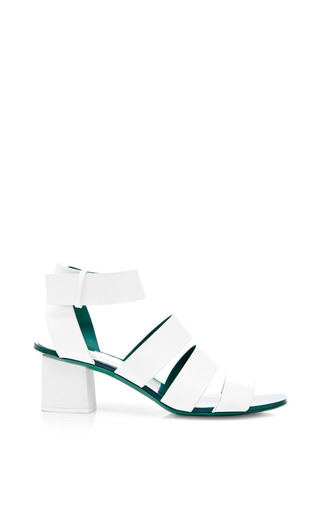 Medium proenza schouler green white low sandal with green sole