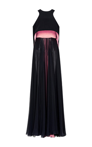 Medium prabal gurung pink bright pink embroidered strapless bustier gown with topper