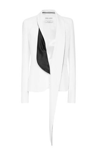 Medium prabal gurung white crepe tuxedo jacket with shawl collar