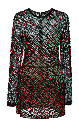 Medium j mendel multi rush rouge embroidery long sleeve dress