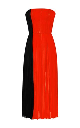Medium j mendel red silk chiffon strapless tea length dress