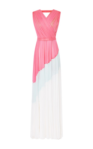 Medium j mendel white silk chiffon colorblocked pleated gown in pink aqua and white