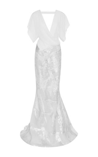 Medium j mendel metalic organza jacquard v neck gown