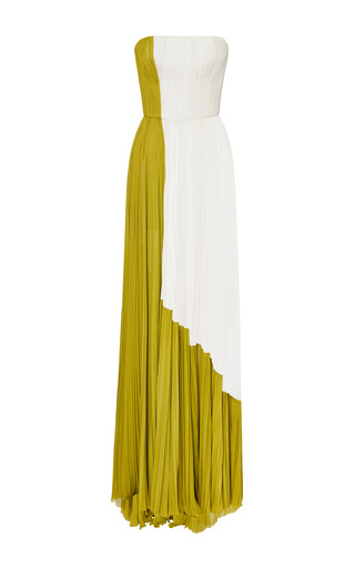 Medium j mendel multi silk chiffon strapless gown with contrast side panel