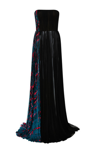 Medium j mendel black printed chiffon side panel strapless gown