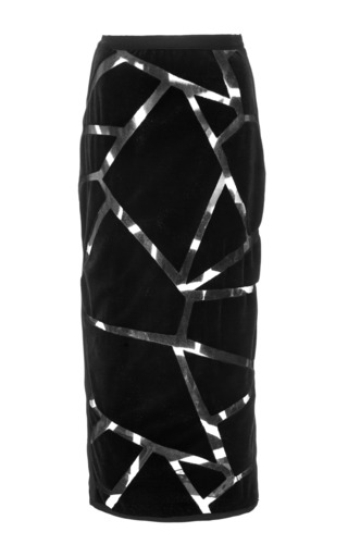 Medium jonathan simkhai black black sheer angle puzzle pencil skirt