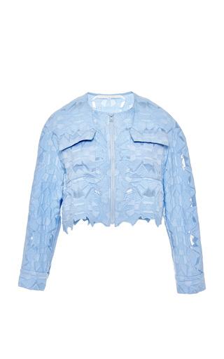 Medium jonathan simkhai blue blue burnout brocade jacket