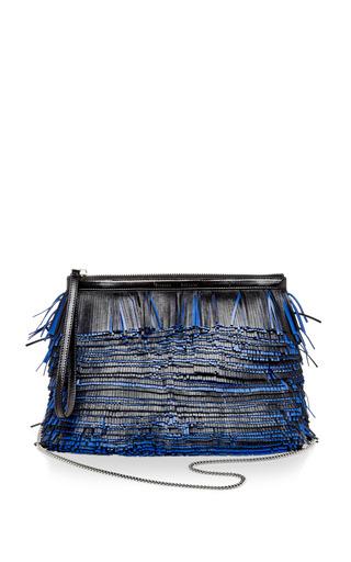 Medium proenza schouler blue black and blue nappa leather and glycine fringe clutch