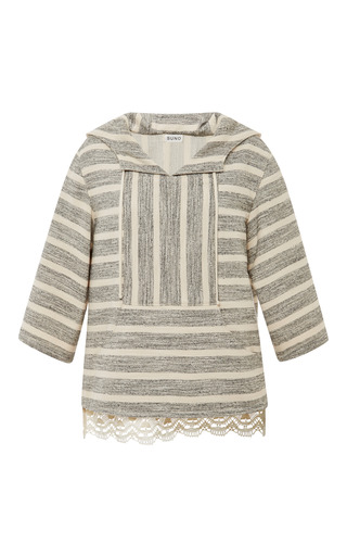 Medium suno stripe black and tan stripe baja pullover