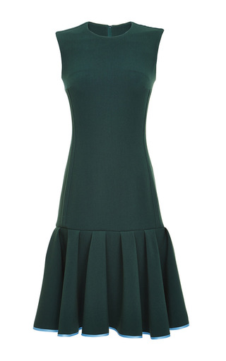 Medium ostwald helgason green drop waist cocktail dress with box pleated skirt
