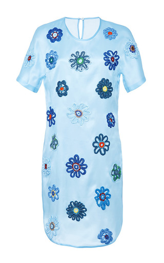 Medium ostwald helgason blue sky blue satin organza shift dress