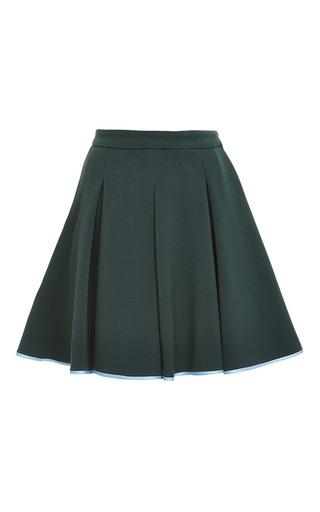 Medium ostwald helgason green short box pleated skirt