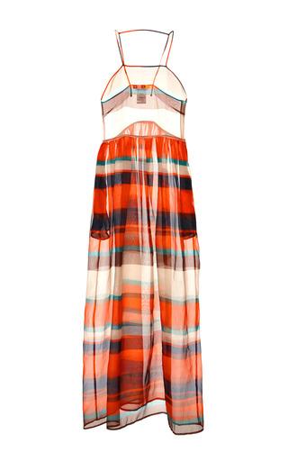 Medium msgm multi multicolor stripe organza long dress