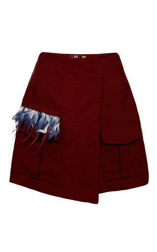 Medium msgm brown cotton canvas wrap skirt with feather embellishment