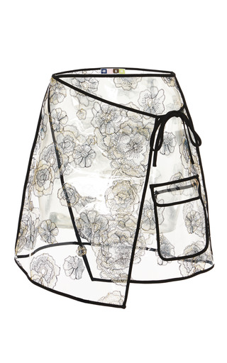 Medium msgm clear clear pvc wrap skirt with flower blooms