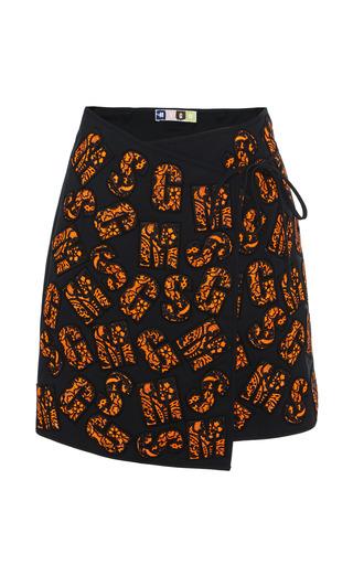Medium msgm orange applique lettering wrap skirt