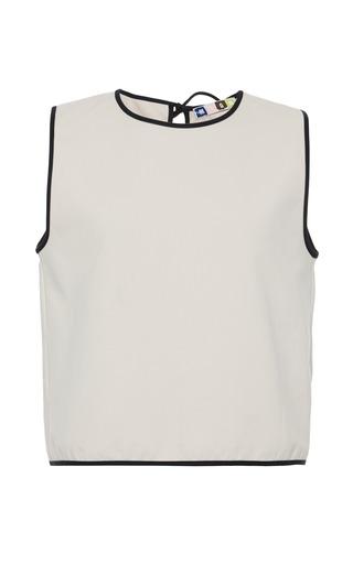 Medium msgm white sleeveless white cotton top